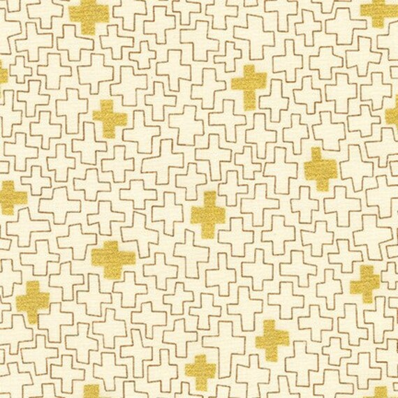 Robert Kaufman - Wayside by Karen Lewis - Gold metallic crosses on Natural (AWIM-18688-14)