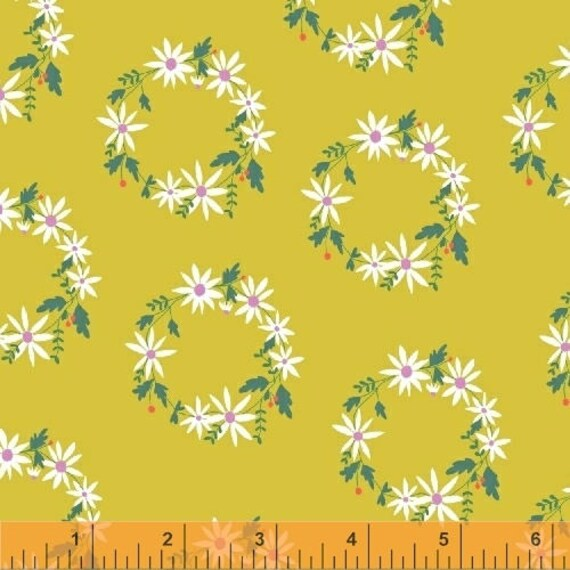 Daisy Chain by Annabel Wrigley for Windham Fabrics - Flower Crown in Chartreuse