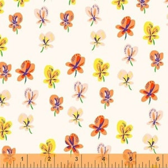 Heather Ross Sleeping Porch for Windham Fabrics - Fat Quarter Pansies in Cream