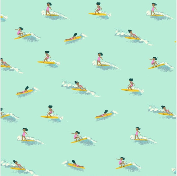 LAWN Malibu by Heather Ross for Windham Fabrics - Fat Quarter of Tiny Surfers in Seafoam