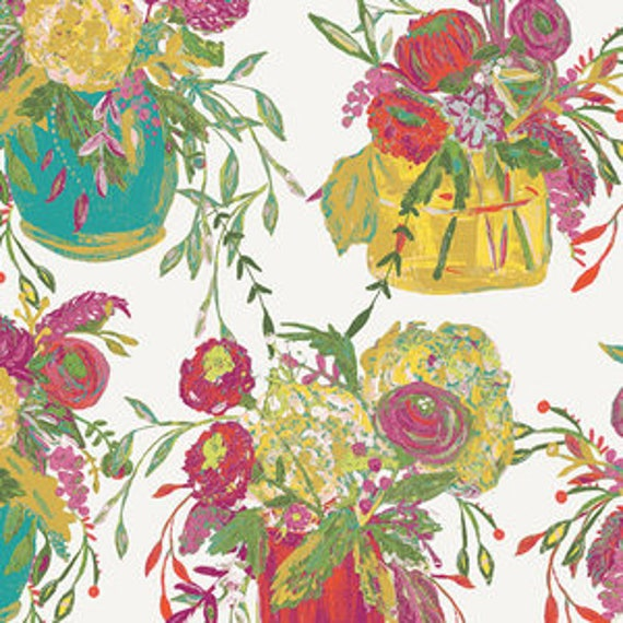 Wild Bloom by Bari J. Ackerman for Art Gallery Fabrics - Still Life in Crisp - Fat Quarter
