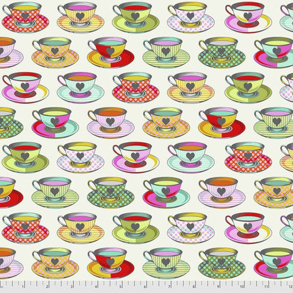 Fat Quarter Tea Time in Sugar - Tula Pink's Curiouser and Curiouser for Free Spirit Fabrics