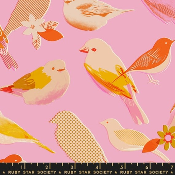 Social and Spark -- Social in Peony Birds (RS000213) by Ruby Star Society for Moda -- Fat Quarter