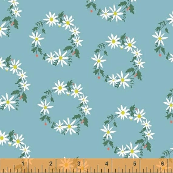Daisy Chain by Annabel Wrigley for Windham Fabrics - Flower Crown in Blue