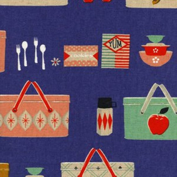 Picnic Basket CANVAS in Cobalt from the Mustang collection by Melody Miller for Cotton and Steel