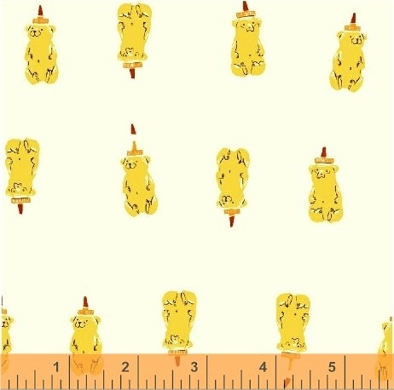 Heather Ross Far Far Away 2 for Windham Fabrics - Fat Quarter of Bears in Yellow
