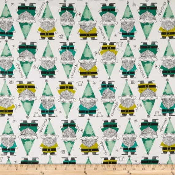 Front Yard -- Gnomes in Green by Sarah Watts for Cotton and Steel