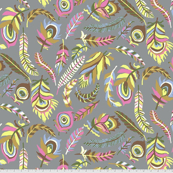 Kaffe Fassett Collective August 2021 -- Fat Quarter of Brandon Mably Tickle My Heart in Grey