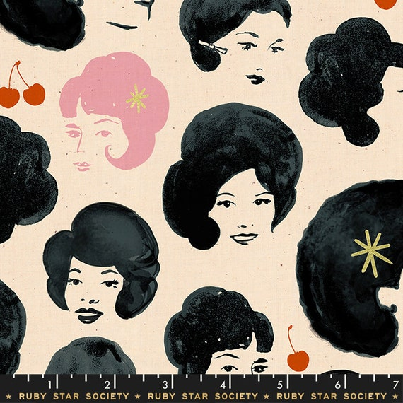 Darlings -- Bouffant Metallic in Black (RS5012-12M) by Ruby Star Society for Moda -- Fat Quarter