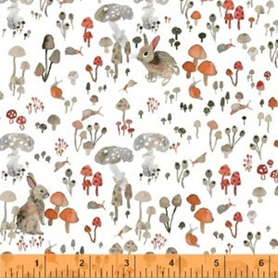 Enchanted Forest by Betsy Olmsted for Windham Fabrics - Fat Quarter of Mushroom Hideaway in White