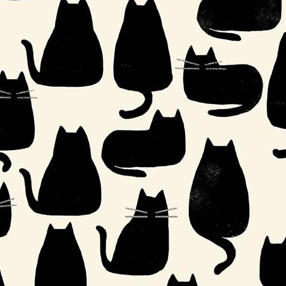Home by Sarah Golden for Andover Fabrics - Fat Quarter of Whiskers in Chat Noir -- Cotton