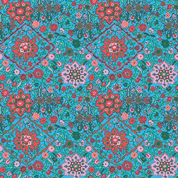 Amy Butler Soul Mate -- Fat Quarter of Inner Vision in Turquoise