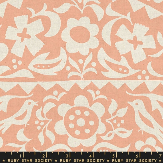 Add It Up and Alma by Alexia Marcelle Abegg -- Ruby Star Society Fabric, RS4001-18 Fat Quarter of Alma Floral Peach