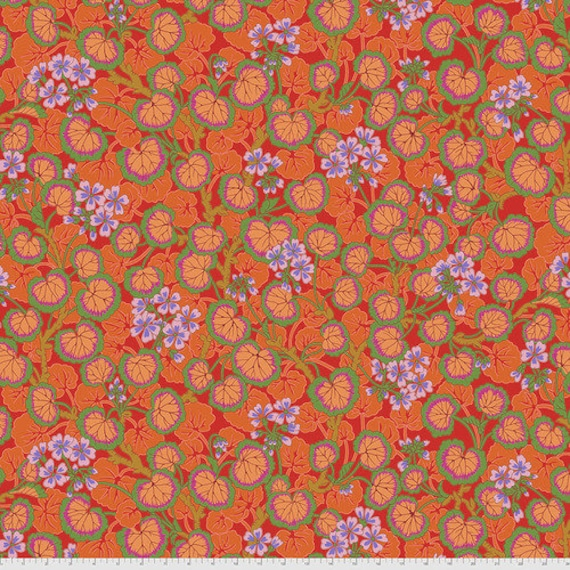 Kaffe Fassett Collective August 2021 -- Fat Quarter of Philip Jacobs Climbing Geraniums in Red