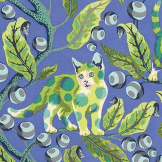 Fat Quarter Disco Kitty in Blue Bird - Tula Pink's Tabby Road