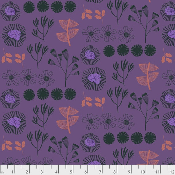 After the Rain by Bookhou for Anna Maria Horner Conservatory Chapter 3 with Free Spirit Fabrics- Fat Quarter of Inventory in Plum