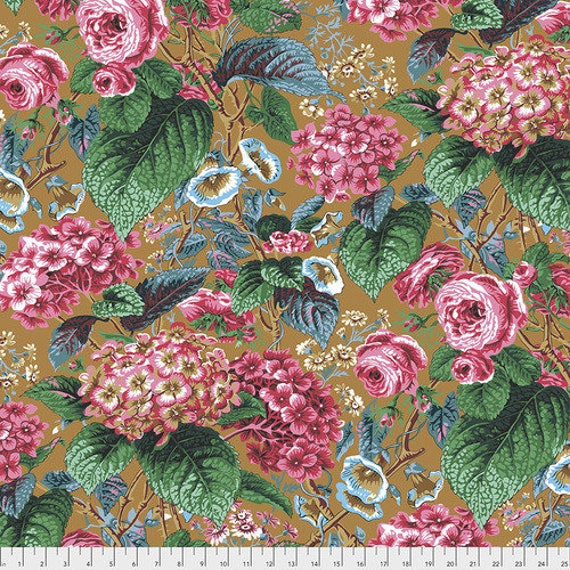 Kaffe Fassett Collective February 2020 -- Fat Quarter of Philip Jacobs Roses and Hydrangea in Ochre
