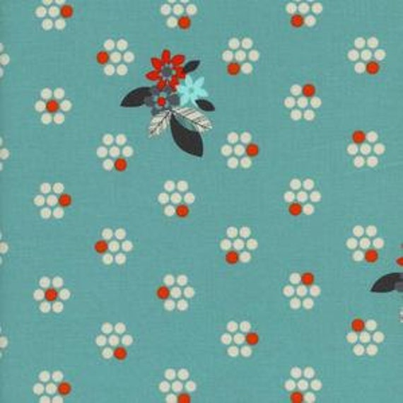 Fat Quarter Fruit Dots Fruit Blossoms in Blue by Melody Miller for Cotton and Steel