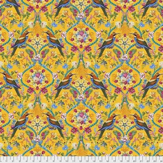 Jardin de la Reine by Odile Bailloeul for Free Spirit Fabrics - Fat quarter of The Queen's Jewels Small in Gold
