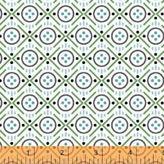 Uppercase Volume 2 by Janine Vangool for Windham Fabrics - Button in Green - Fat Quarter