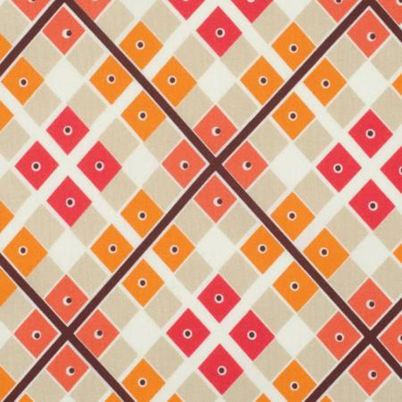 Katie Jump Rope by Denyse Schmidt for Free Spirit Fabrics -  Diamond Plaid and Dot in Geranium