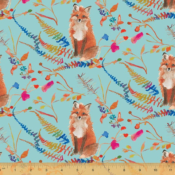 Fox Wood by Betsy Olmsted for Windham Fabrics - Fat Quarter of 51919-3 Foxes in Aqua