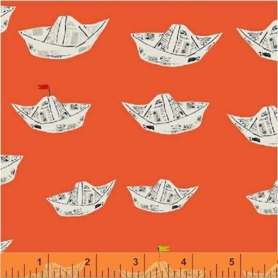Heather Ross Far Far Away 2 for Windham Fabrics - Fat Quarter of Boats in Terracotta