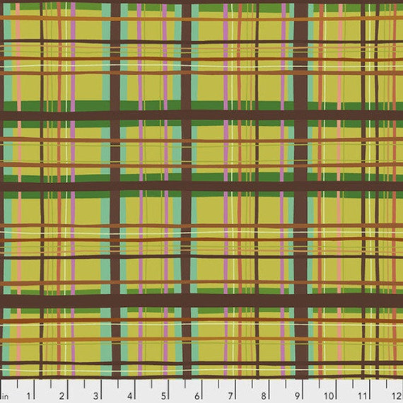 New Vintage by Kathy Doughty for Free Spirit Fabrics - Fat quarter of Plaid in Chartreuse