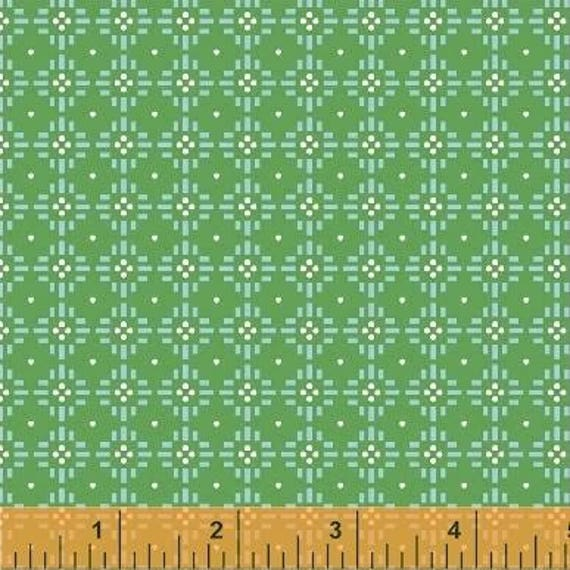 Uppercase Volume 2 by Janine Vangool for Windham Fabrics - Flower Stitch in Green - Fat Quarter