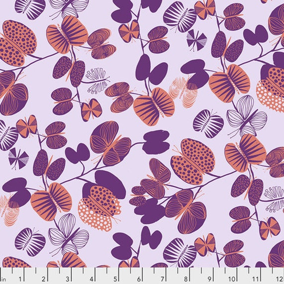 After the Rain by Bookhou for Anna Maria Horner Conservatory Chapter 3 with Free Spirit Fabrics- Fat Quarter of Butterfly Leaves in Coral