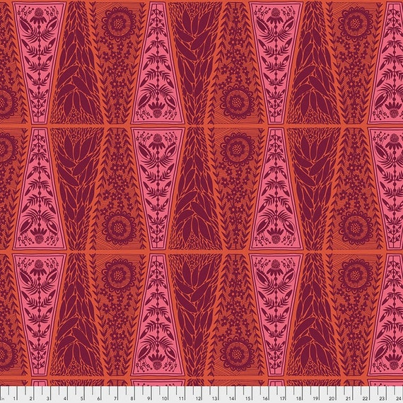 Triple Take by Anna Maria Horner for Anna Maria Horner Conservatory 4 with Free Spirit Fabrics - Fat Quarter of New Dresden Lace in Pumpkin