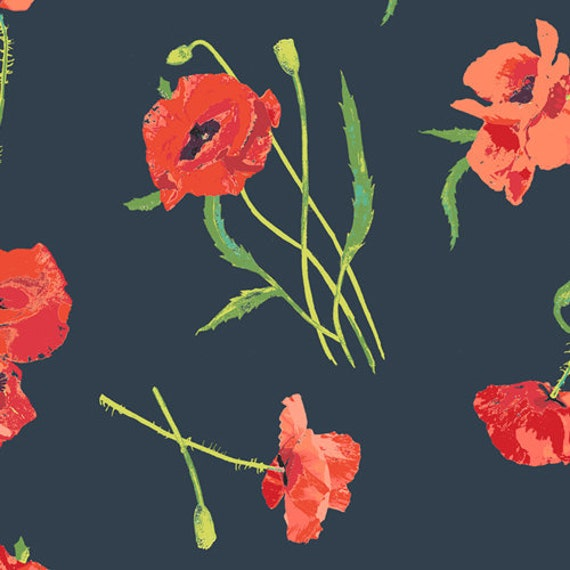 Art Gallery Poppy Memories in Rayon - Purchase in 25cm Increments