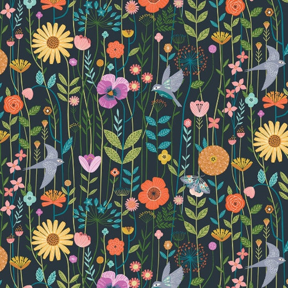 Aviary by Bethan Janine for Dashwood Studio - Fat Quarter of Swallows in the Meadow in Teal