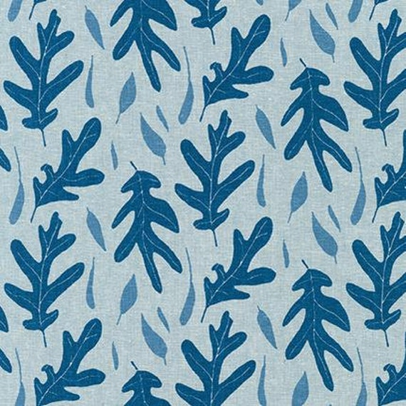Quarry Trail by Anna Graham for Robert Kaufman, 100% Cotton Linen Canvas -- 25cm -- Oak in Chambray