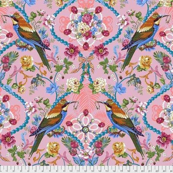 Jardin de la Reine by Odile Bailloeul for Free Spirit Fabrics - Fat quarter of The Queen's Jewels in Rose