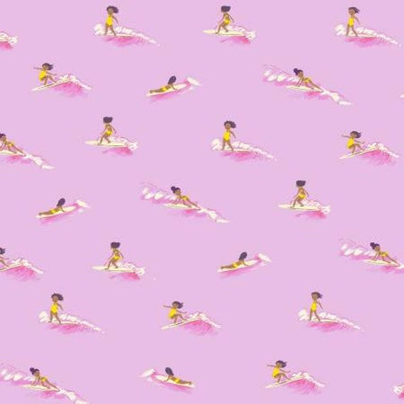 Malibu by Heather Ross -- Fat quarter of Tiny Surfers in Pink - 52146-7