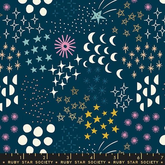 Stellar -- Ruby Star Society Fabric, RS1007-13M  Final Frontier in Metallic Dark Teal by Rashida Coleman Hale-- Fat Quarter