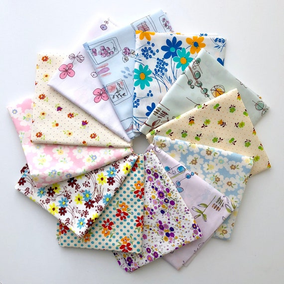 Low Volume Floral Fat Quarter Bundle from Various Japanese Kei and Yuwa fabrics- Fat Quarter Bundle of 12- LAST ONE