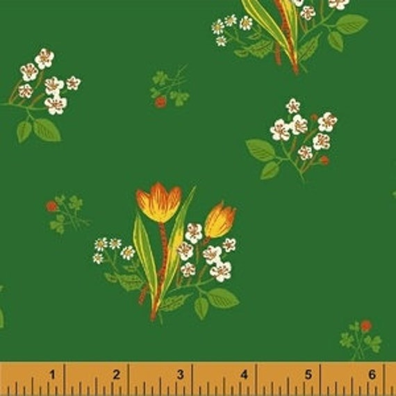Heather Ross Kinder for Windham Fabrics - Fat Quarter Spring Blooms in Green