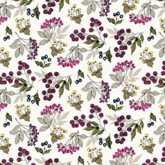 Botanica by Makower for Andover Fabrics - Forest Fruits in White - Fat Quarter