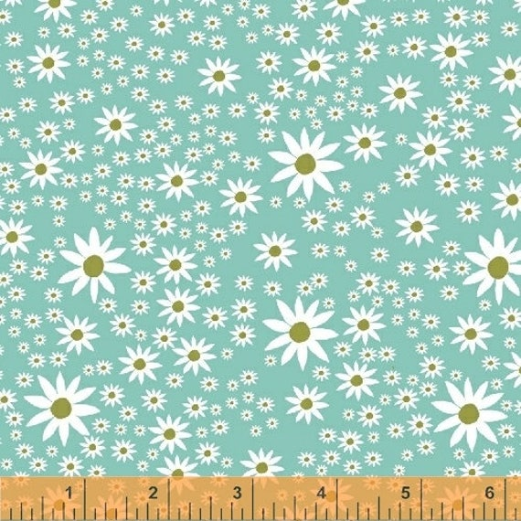 Daisy Chain by Annabel Wrigley for Windham Fabrics - Daisies in Aqua