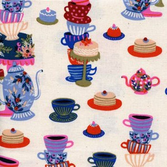Wonderland -- Mad Tea Party in Neutral by Rifle Paper Company for Cotton and Steel