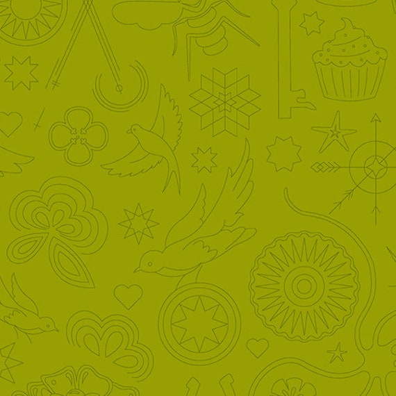 Sunprint 2020 by Alison Glass -- Fat quarter of Embroidery in Olive