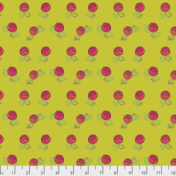 Flower Shop by Courtney Cerruti for Anna Maria Horner Conservatory 4 with Free Spirit Fabrics - Fat Quarter of Rosebuds in Garden