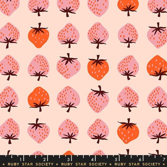 Darlings -- Strawberries in Peach (RS5019-12) by Ruby Star Society for Moda -- Fat Quarter
