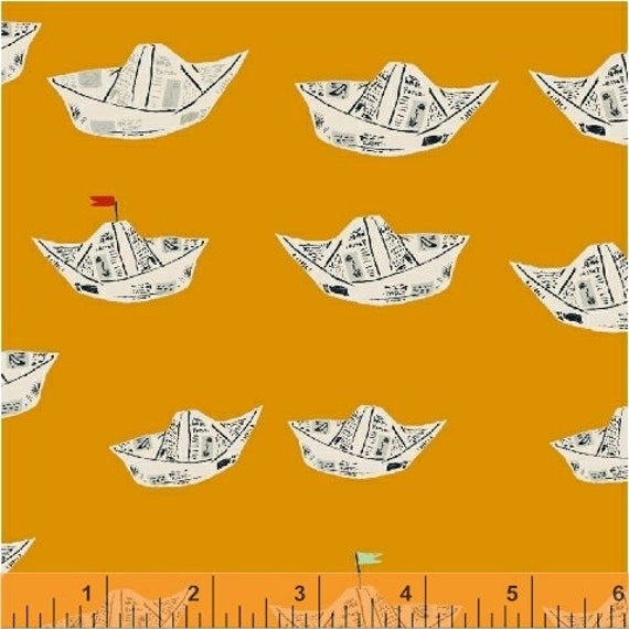 Heather Ross Far Far Away 2 for Windham Fabrics - Fat Quarter of Boats in Mustard