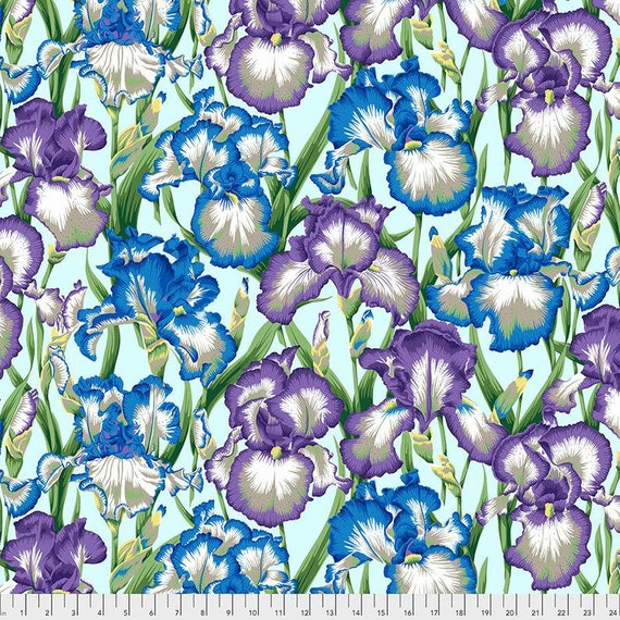 Kaffe Fassett Collective August 2020 -- Fat Quarter of Philip Jacobs Bearded Iris in Cool