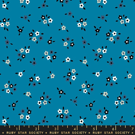 Liana-- Ruby Star Society Fabric, RS3012-14 Calico in Bright Blue by Kimberly Kight -- Fat Quarter