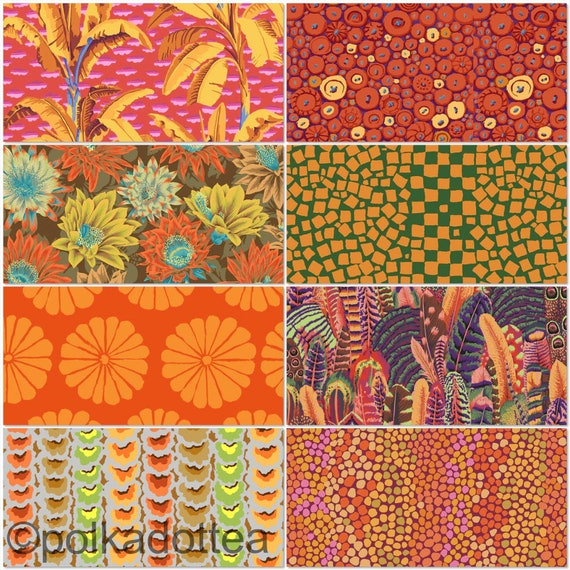 Preorder February2021 -Kaffe Fassett Collective - Fat quarter bundle of 8 in Oranges
