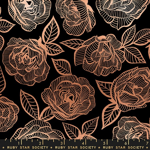 First Light Floral Lace in Black  (RS049-12M) by Ruby Star Society for Moda -- Fat Quarter